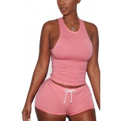 Pink Cotton Blend Shorts Solid U Neck Sleeveless Casual Two Pieces