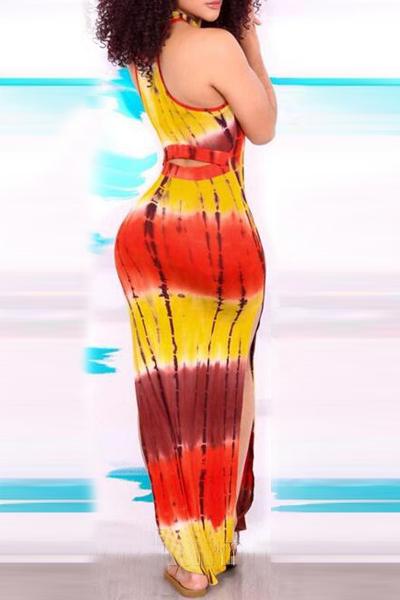 Lunghezza del vestito alla moda girocollo maniche stampato laterale Split Red Qmilch Guaina caviglia