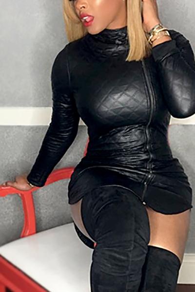 Trendy Rollkragen Langen Ärmeln Reißverschluss Design Schwarz Leder Minikleid