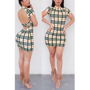 Sexy Mandarina Collar mangas cortas Plaids Backless Qmilch Mini vestido vaina