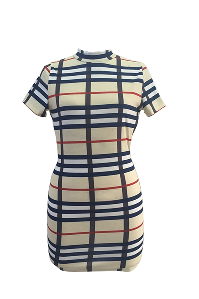 Sexy Mandarin Collar Short Sleeves Plaids Backless Qmilch Sheath Mini Dress