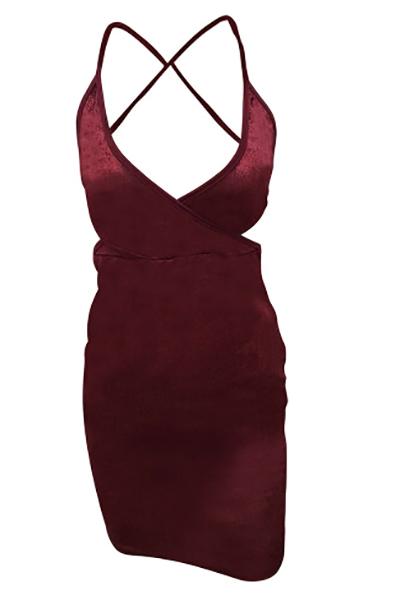 Sexy Deep V Neck Spaghetti Strap Sleeveless Backless Purplish-red Velvet Sheath Mini Dress