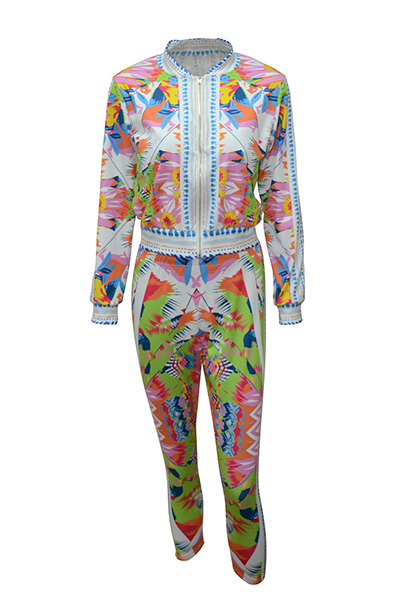 Stylish Mandarin Collar Long Sleeves Printed Healthy Fabric Two-piece Pants Set