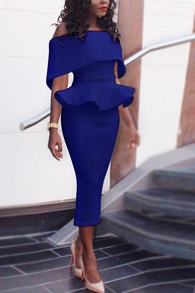 Healthy Fabric Fashion Bateau Neck Short Sleeve Sheath Mid Calf Dresses
