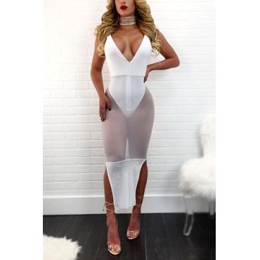 Polyester Sexy V Neck Spaghetti Strap Sheath Mid Calf Dresses