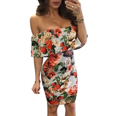 Qmilch Fashion Bateau Neck Short Sleeve Sheath Mini Dresses