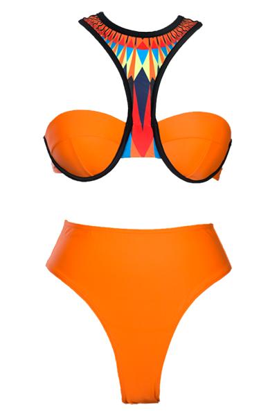 Sexy Halter Neck Patchwork Nylon Two-piece Swimwear