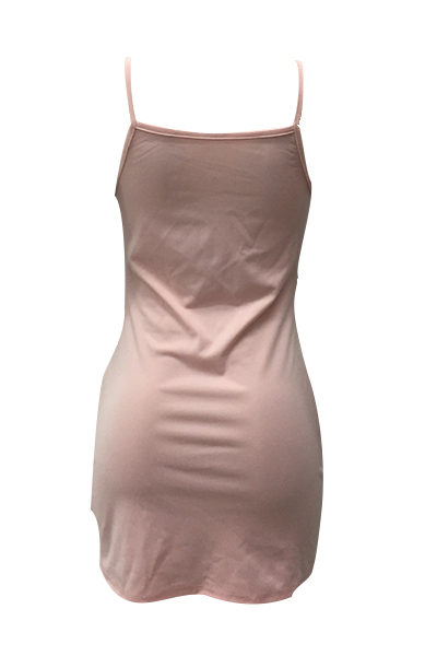 Sexy Spaghetti Straps See-Through Pink Polyester Sheath Mini Dress(Without Briefs)