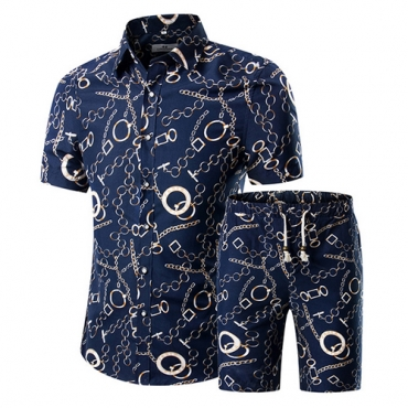Stylish Mandarin Collar Short Sleeves Printed Blue Cotton Blends Two-piece Shorts Set