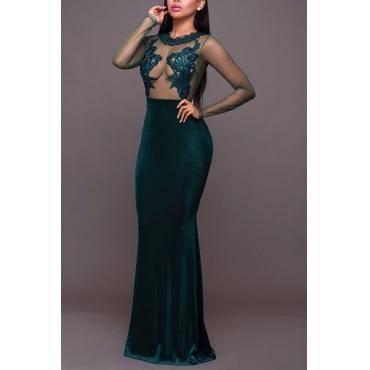 Sexy Round Neck Long Sleeves Gauze Patchwork Green Velvet Sheath Floor Length Dress