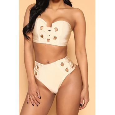 Sexy Hollow-out Skin Color Ployester Two-piece Swimwear