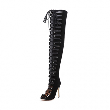 Elegante Redonda Peep Toe Lace-up Oco-out Stiletto Super High Heel Preto camurça sobre as botas de joelho