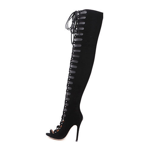 Stylish Round Peep Toe Lace-up Hollow-out Stiletto Super High Heel Black Suede Over The Knee Boots