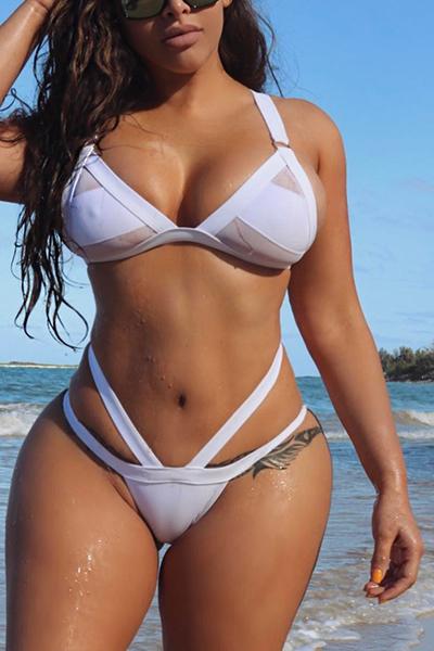Ployester Solid Bikinis