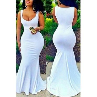 LovelyCotton Blend Fashion U Neck Sleeveless Mermaid Floor length Dresses