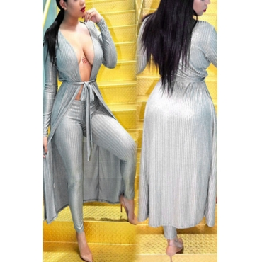 Grey Velvet Pants Solid V Neck Long Sleeve Sexy Two Pieces