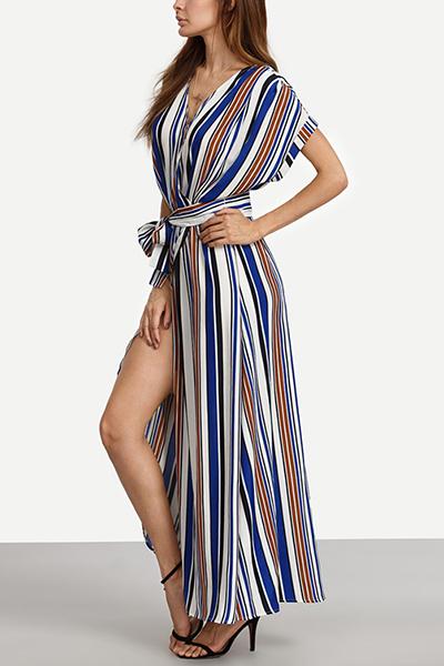 Chiffon Casual V Neck Short Sleeve Ankle Length Dresses Dresses <br><br>