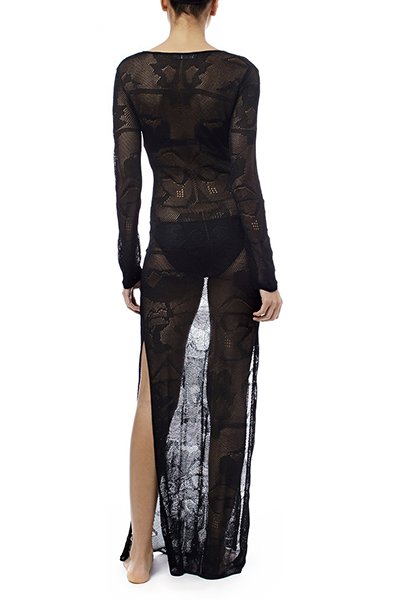 Sexy Deep V Neck Lace-up See-Through Black Polyester Cover-Ups( Without Lining)