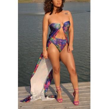Euramerican Printed Purple Polyester Two-piece Swimwear