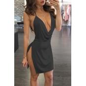 Polyester Sexy V Neck Sleeveless Mini Dresses
