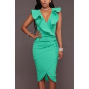 Cotton Sexy V Neck Sleeveless Knee Length Dresses
