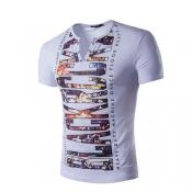 Pullovers Cotton V Neck Short Sleeve Print Men Clo