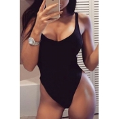 Lovely Sexy U-shaped Neck Hollow-out Black Cotton One-piece Swimwear