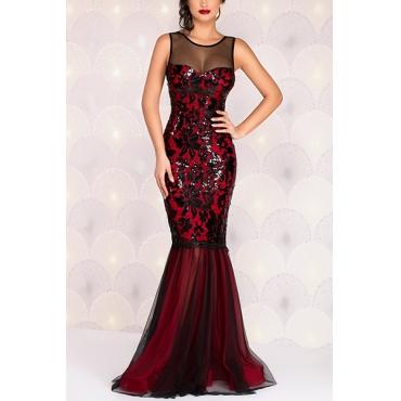 Elegant Round Neck Sleeveless Gauze Patchwork Red Sheath Floor Length Dress