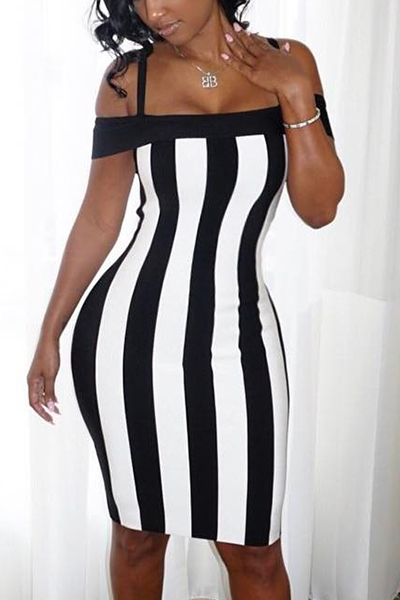 Sexy Bateau Neck Sleeveless Black-white Patchwork Healthy Fabric Sheath Knee Length Dress