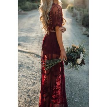 Cotton Vintage V Neck Short Sleeve Sheath Ankle Length Dresses