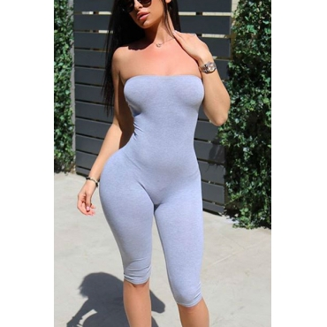 Leisure Dew Shoulder Sleeveless Grey Polyester One-piece Skinny Jumpsuits