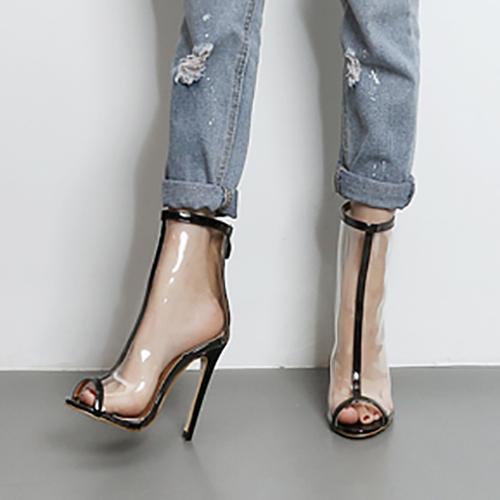 Stylish Pointed Peep Toe See-Through Stiletto Super High Heel Black  PU Sandals