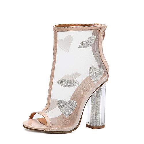 Fashion Pointed Peep Toe See-Through Chunky Super High Heel Apricot Net Yarn Sandals
