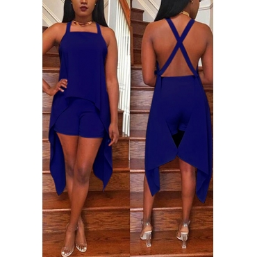 Blue Venetian Shorts Solid U Neck Sleeveless Fashion Two Pieces