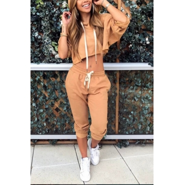 Khaki Knitting Pants Solid Long Sleeve Fashion Two Pieces