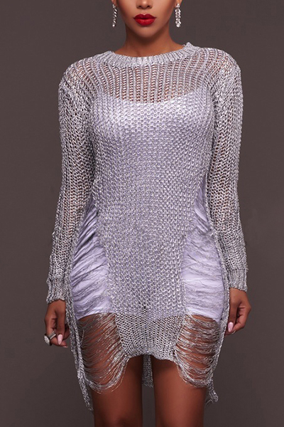 Sexy Round Neck Long Sleeves Hollow-out White Polyester Mini Dress Dresses <br><br>