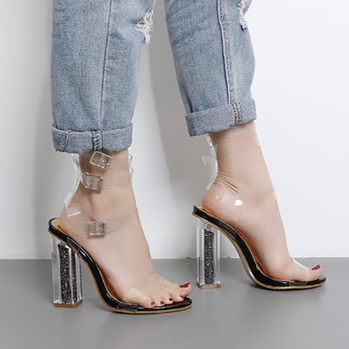 Euramerican Round Peep Toe Hollow-out chunky súper alto talón negro plástico sandalias