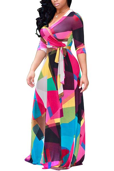 Euramerican V-Ausschnitt Drei Viertel Ärmel Digitaldruck Gesundes Stoff Boden Länge Kleid