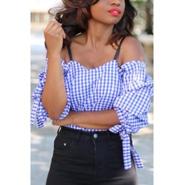 Euramerican Bateau Neck Short Sleeves Grid Blue Cotton Blends Shirts