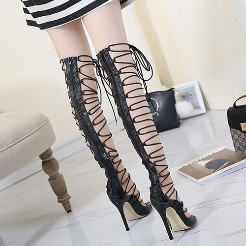 Elegante Ponto Toe Lace-up Oco-out Stiletto Super High Heel Preto PU Gladiador Sandálias