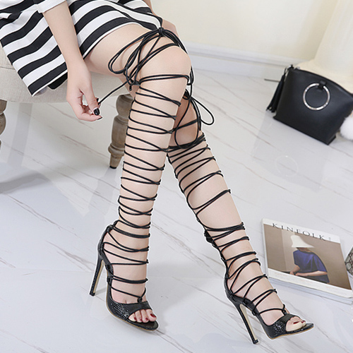 Stylish Point Toe Lace-up Hollow-out Stiletto Super High Heel Black PU Gladiator Sandals