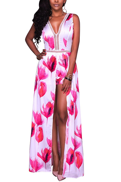 Charming V Neck Floral Print High Split Red Qmilch One-piece Skinny Jumpsuits
