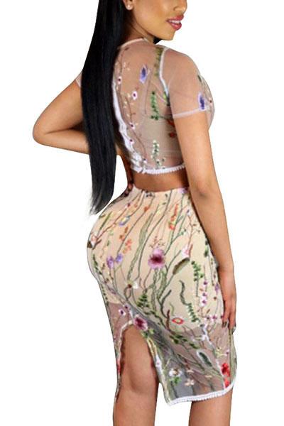 Комплект с юбкой из полиэфирной ткани с коротким рукавом