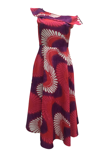 Ethnic Style Bateau Neck One Shoulder Short Sleeves Totem Printed Polyester Ankle Length Dress
