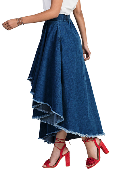 Stylish Elastic Waist Asymmetrical Blue Denim Ankle Length Skirts