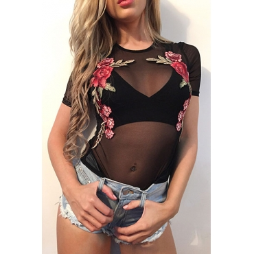 Sexy Round Neck Short Sleeves See-Through Black Polyester T-shirt