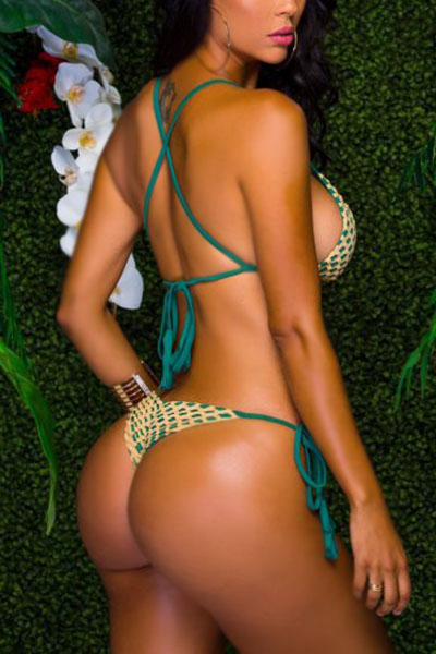 Sexy Lace-up Backless Green Polyester Two-piece Swimwear