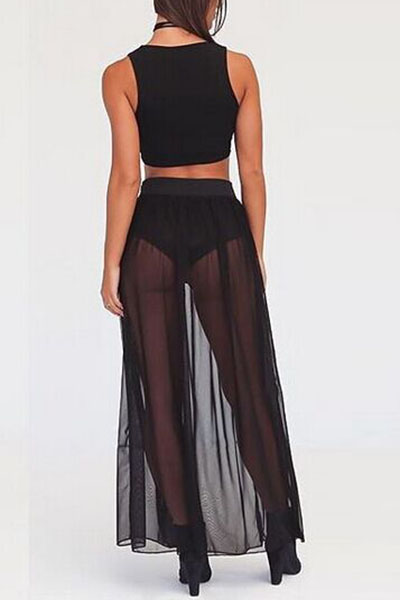Sexy High Waist See-Through Black Polyester Cover-Ups(Without Lining)