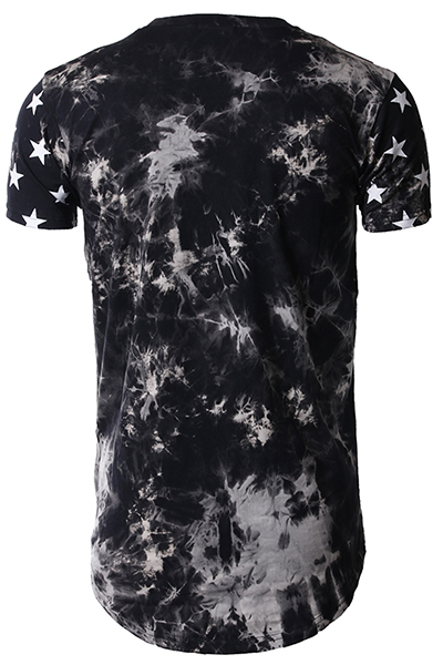 Leisure Round Neck Short Sleeves Five-pointed Star Printing Grey-white Cotton Blends T-shirt