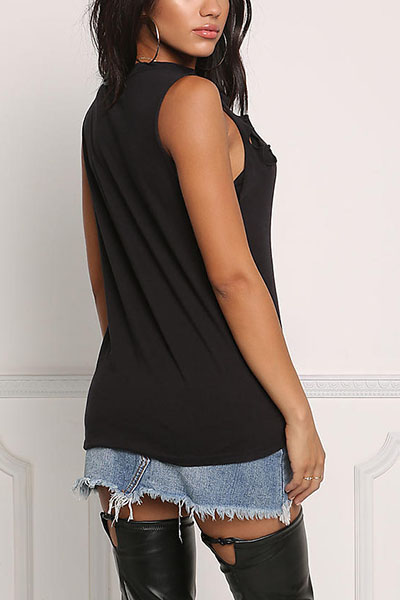 Sexy V Neck Sleeveless Hollow-out Black Polyester T-shirt